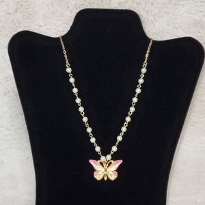 Girl's Faux Pearls and Butterfly Charm Necklace